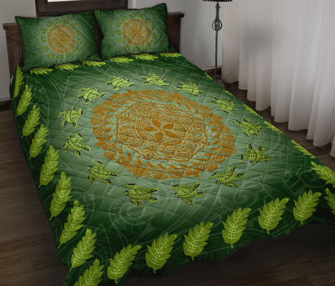 Hawaii Tropical Pattern Turtle Polynesian Quilt Bed Set - Amee Style - AH - J3