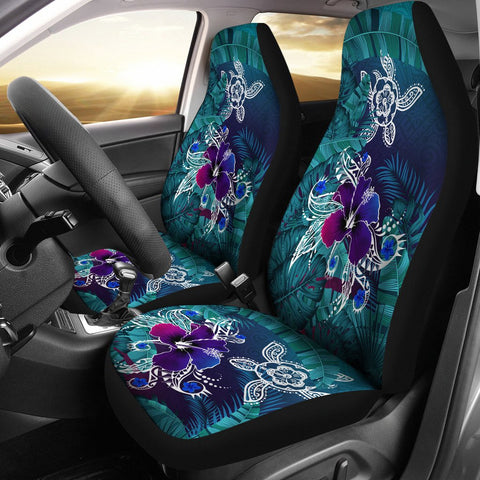 Image of Alohawaii Car Seat Covers - Hawaii Turtle Flowers And Palms Retro - AH J8 - Alohawaii
