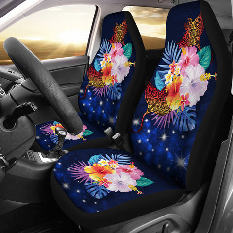Hawaii Couple Manta Ray Plumeria Hibiscus Tropical Polynesian Car Seat Cover - Bling Style - AH - JA