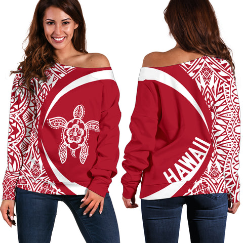 Hawaii Turtle Polynesian Women's Off Shoulder Sweater - Circle Style - Red