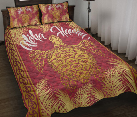 Hawaii Turtle Gold Tropical Leaves Polynesian Quilt Bed Set - Royal Style - AH - JA