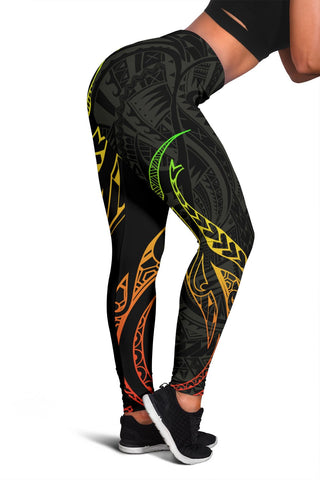Image of Hawaiian Kanaka Polynesian Women's Leggings - Black - Hana Style