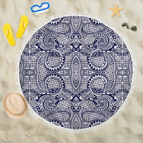 Image of Polynesian Beach Blanket Blue And White - AH - J1