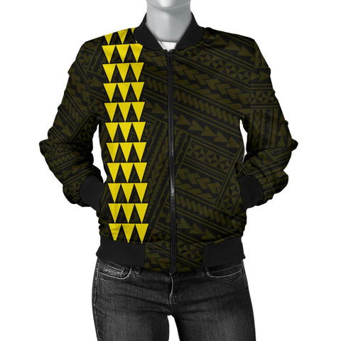Hawaii Kakau Polynesian Anchor Women's Bomber Jacket - Yellow - AH - J6 - Alohawaii