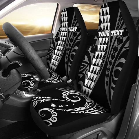 Personalized Hawaii Car Seat Covers Kakau Large Polynesian White