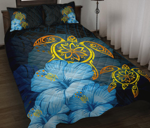 Hawaii Quilt Bed Set - Turtle Hibiscus Pattern Hawaiian Quilt Bed Set - Blue - AH - J2