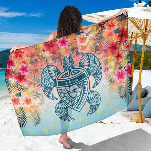Hawaii Turtle Ohana Stary Night Hibiscus Sarong