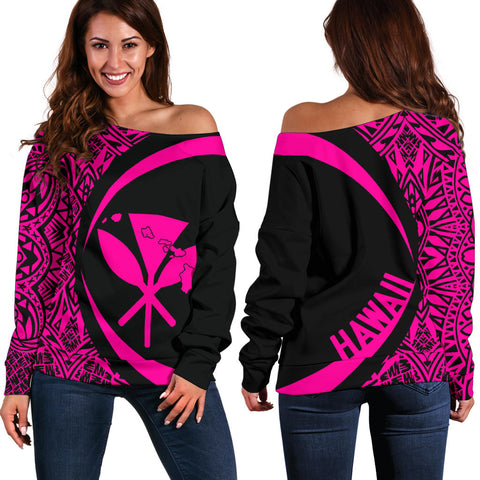 Kanaka Hawaii Map Pink Polynesian Off Shoulder Sweater
