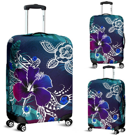 Image of Alohawaii Luggage Covers - Hawaii Turtle Flowers And Palms Retro - AH J8 - Alohawaii