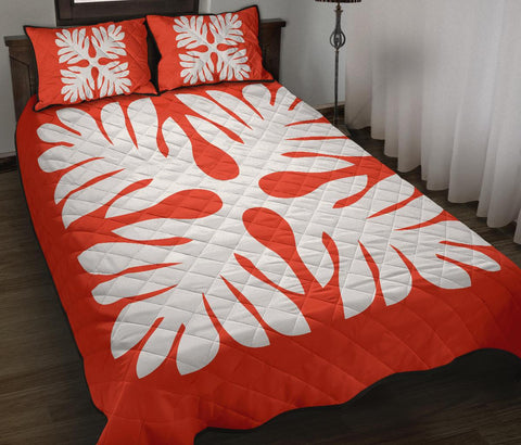 Hawaiian Quilt Bed Set Royal Pattern - Orange - P1 Style - AH - J3