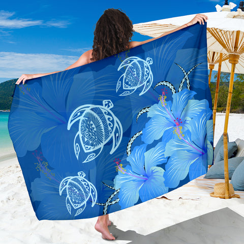 Image of Hawaii Blue Hibiscus Turtle Polynesian Sarong