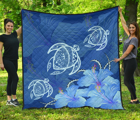 Image of Hawaii Blue Hibiscus Turtle Polynesian Premium Quilt