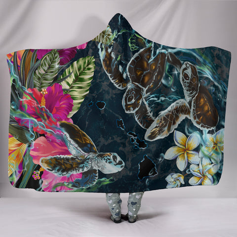 Hawaii Map Turtle Swimming Hibiscus Plumeria Moana Hooded Blanket