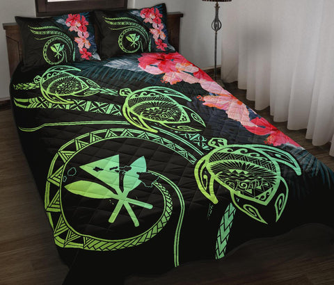 Hawaii Turtle Polynesian Tropical Quilt Bed Set - Cora Style Yellow - AH - J4 - Alohawaii