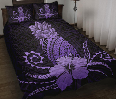 Hawaii Polynesian Pineapple Hibiscus Quilt Bed Set - Zela Style Purple