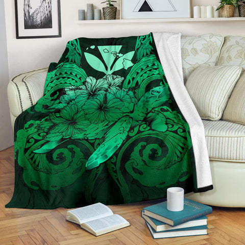 Image of Hawaii Turtle Wave Polynesian Premium Blanket