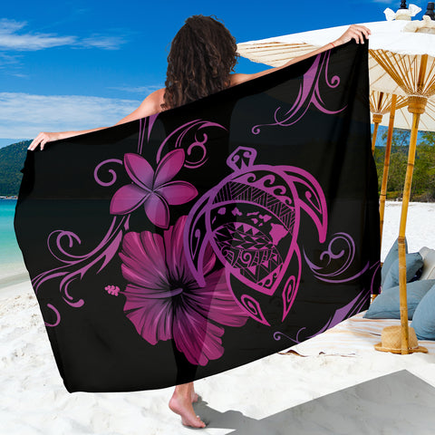 Image of Hawaii Turtle Hibiscus Plumeria Poly Sarong