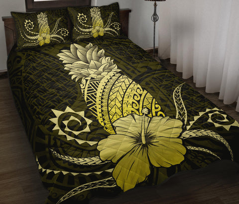 Hawaii Polynesian Pineapple Hibiscus Quilt Bed Set - Zela Style Yellow