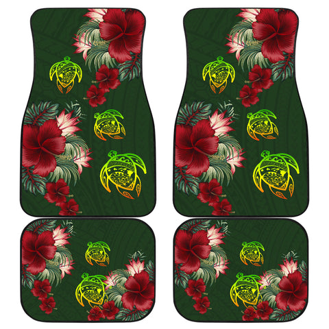 Hawaii Car Floor Mats - Turtle Hibiscus Pattern Hawaiian Car Floor Mats - Green - AH -J2