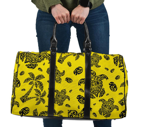 Polynesian Turtle Palm And Sea Pebbles Yellow Hawaii Travel Bag