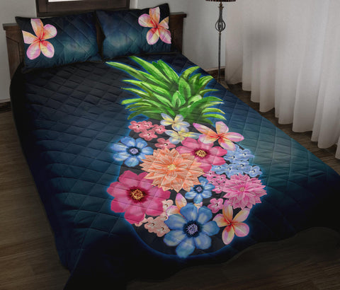 Pineapple Hibiscus Pattern Quilt Bed Set - AH - J1 - Alohawaii