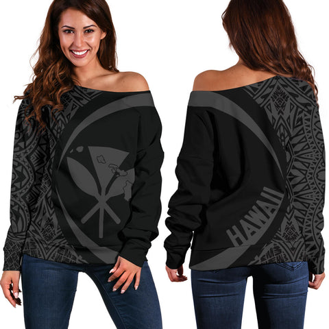 Kanaka Hawaii Map Grey Polynesian Off Shoulder Sweater