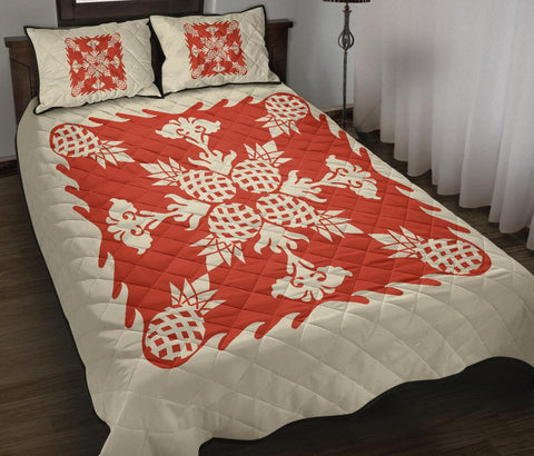 Hawaiian Quilt Bed Set Pineapple Pattern - White Mix Red