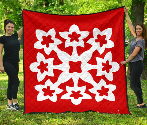 Hawaiian Premium Quilt Royal Pattern - Red - A1 Style