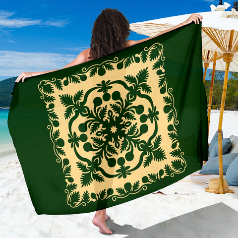 Image of Hawaiian Sarong Royal Pattern - Emerald Green - AH - J6 - Alohawaii