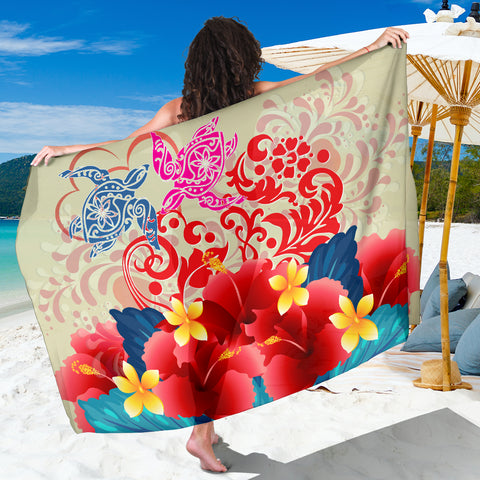Hawaii Turtle Couple Hibiscus Valentine Pattern Sarong - Romance Style - AH - J3