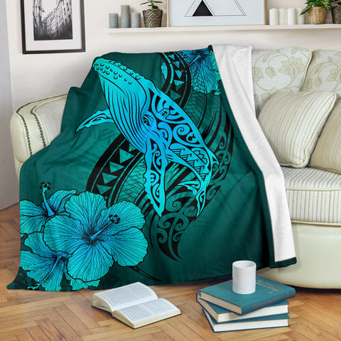 Image of Hawaii Whale Swim Poly Premium Blanket