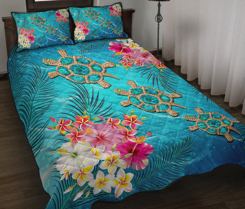 Hawaii Turtle Ocean Tropical Flowers Quilt Bed Set - Siri Style - AH - J2