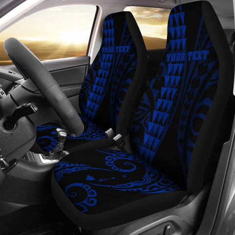 Image of Personalized Hawaii Car Seat Covers Kakau Large Polynesian Blue