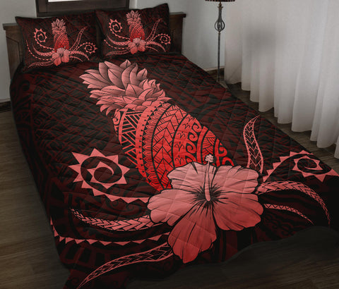 Hawaii Polynesian Pineapple Hibiscus Quilt Bed Set - Zela Style Red