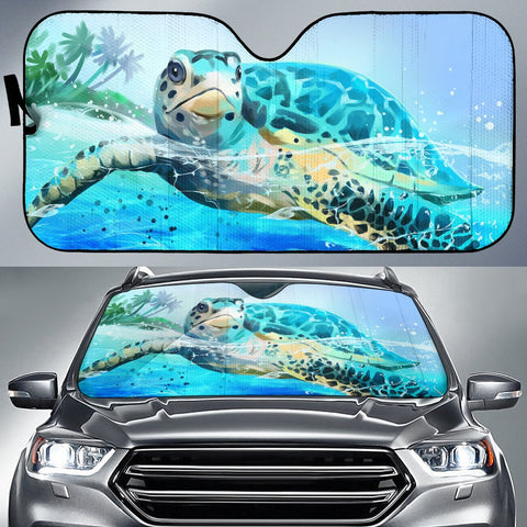 Hawaii Sea Turtle Swimming Car Sun Shade - AH - J5 - Alohawaii