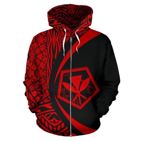 Kanaka Polynesian Tribal Zip-up Hoodie - Circle Style Red Color - AH J1 - Alohawaii