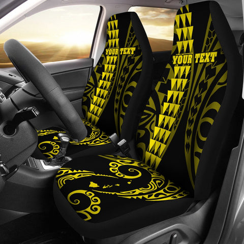 Image of Personalized Hawaii Car Seat Covers Kakau Large Polynesian Yellow