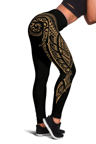 Hawaii State Tattoo Swirly Gold Polynesian Women's Leggings