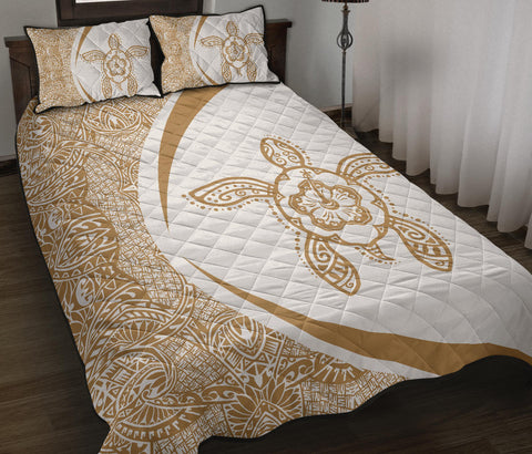 Image of Hawaii Turtle Polynesian Quilt Bed Set-Circle Style