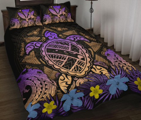 Hawaii Turtle Polynesian Turquoise Quilt Bed Set