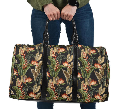 Hawaii Tropical Floral Vintage Strelitzia Flower Banana Leaves Hawaii Travel Bag