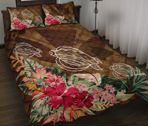 Hawaii Turtle Tropical Knit Background Quilt Bed Set