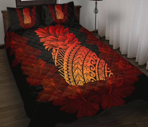 Hawaii Pineapple Hibiscus Quilt Bed Set - AH J4 - Alohawaii