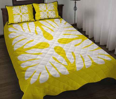Hawaiian Quilt Bed Set Royal Pattern - Yellow - P1 Style - AH - J3