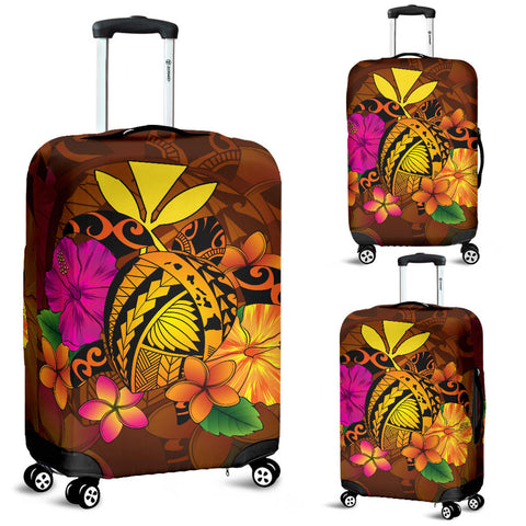 Hawaii Turtle Tribal Map Hibiscus Plumeria Luggage Covers