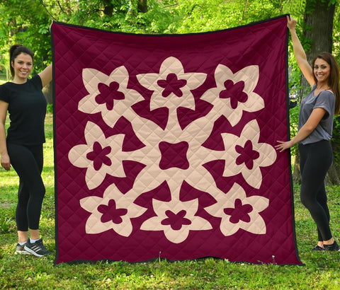 Hawaiian Premium Quilt Royal Pattern - Pink - A1 Style