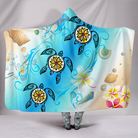 Hawaii Fresh Beach Turtle Plumeria Hooded Blanket