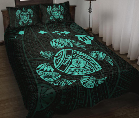 Hawaii Turtle Hibicus Map Quilt Bed Set - Turquoise - AH - J6