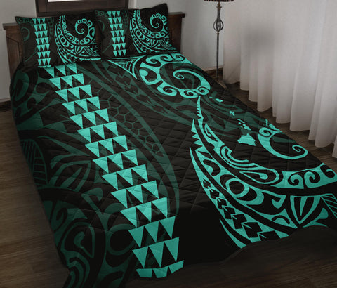 Hawaii Polynesian Quilt Bed Set Turquoise - AH J4 - Alohawaii