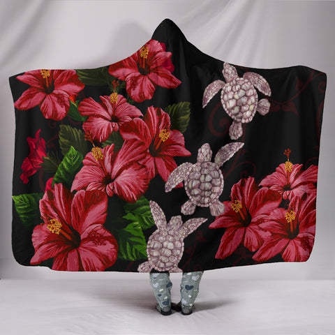 Image of Hawaii Red Hibiscus Turtle Hooded Blanket - AH - Ray Style - J5 - Alohawaii